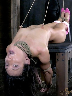 Wenona gets roughly deep throated, her HUGE nipples bound so she must keep her legs raised!