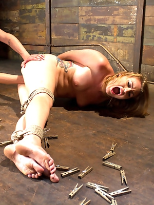 Local Babe gets Strung Upsidedown in Electro Predicament Bondage
