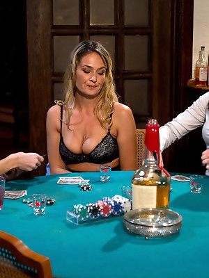 Sexy MILF boss punished and fucked by lesbian employees at a strip poker game!