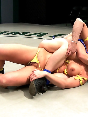 2 hot blond fitness models battle in a hardcore, sexual, non-scripted, submission wrestling match!