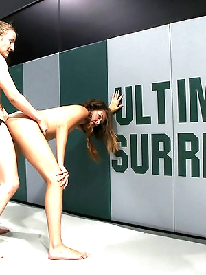 2 girl next door types battle it out on the mat<br>100% Real non-scripted sex wrestling. Brutal!!